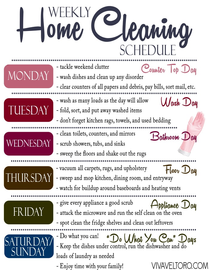 photo about Free Printable Cleaning Schedule identified as A Simple Helpful Dwelling Cleansing Agenda - Printable