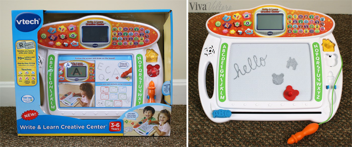 this is the vtech write learn creative center and it is quite the activity board especially for being for under 25