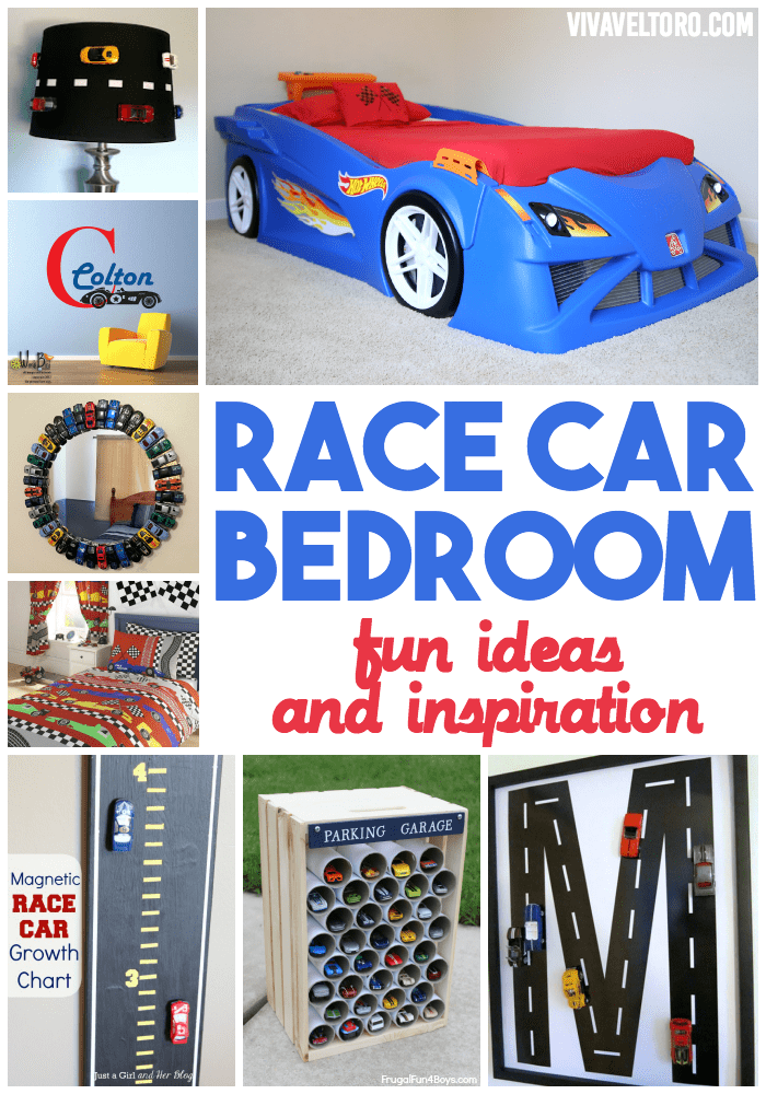 Race Car Bedroom featuring the Step2 Hot Wheels Toddler To Twin ...