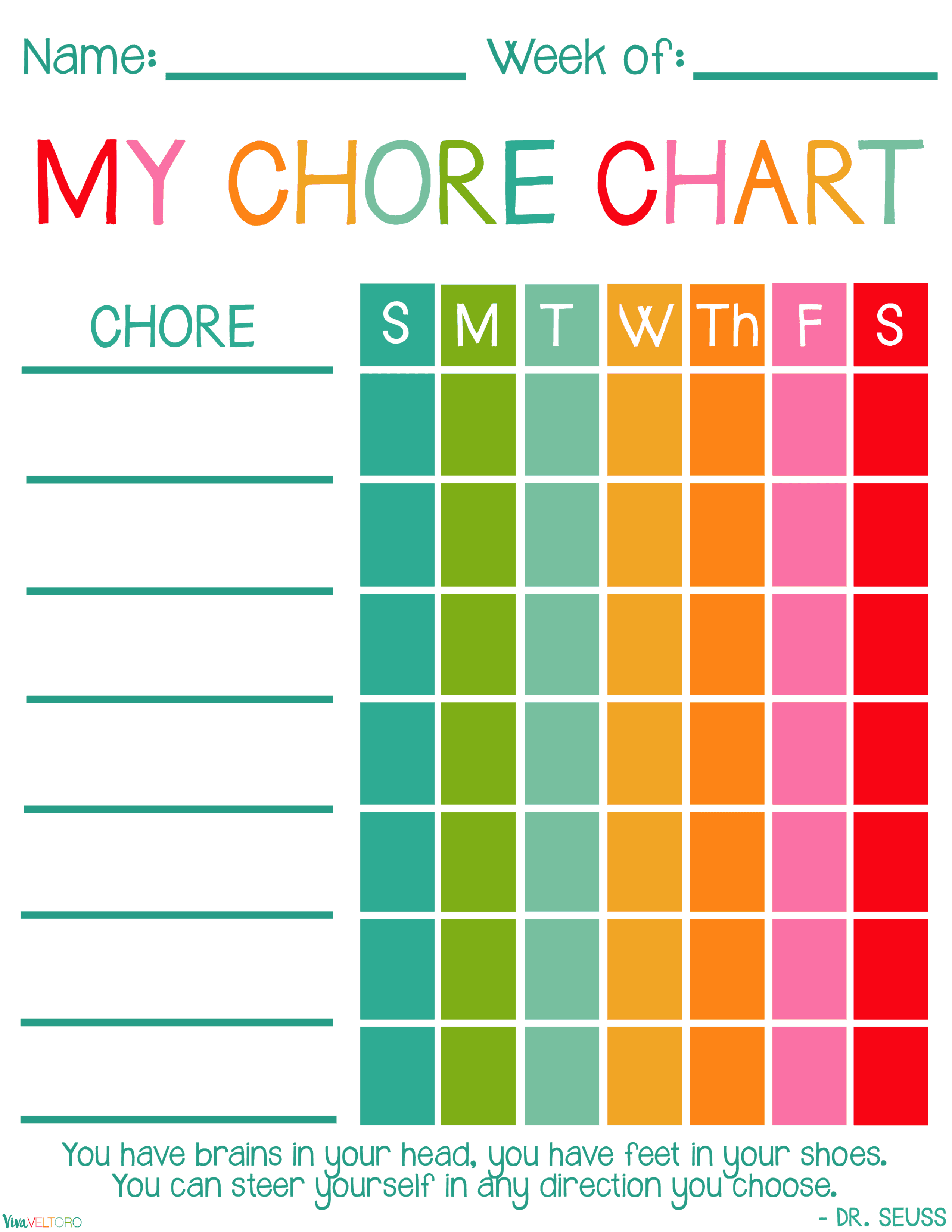 Free Printable Chore Charts For Kids Viva Veltoro