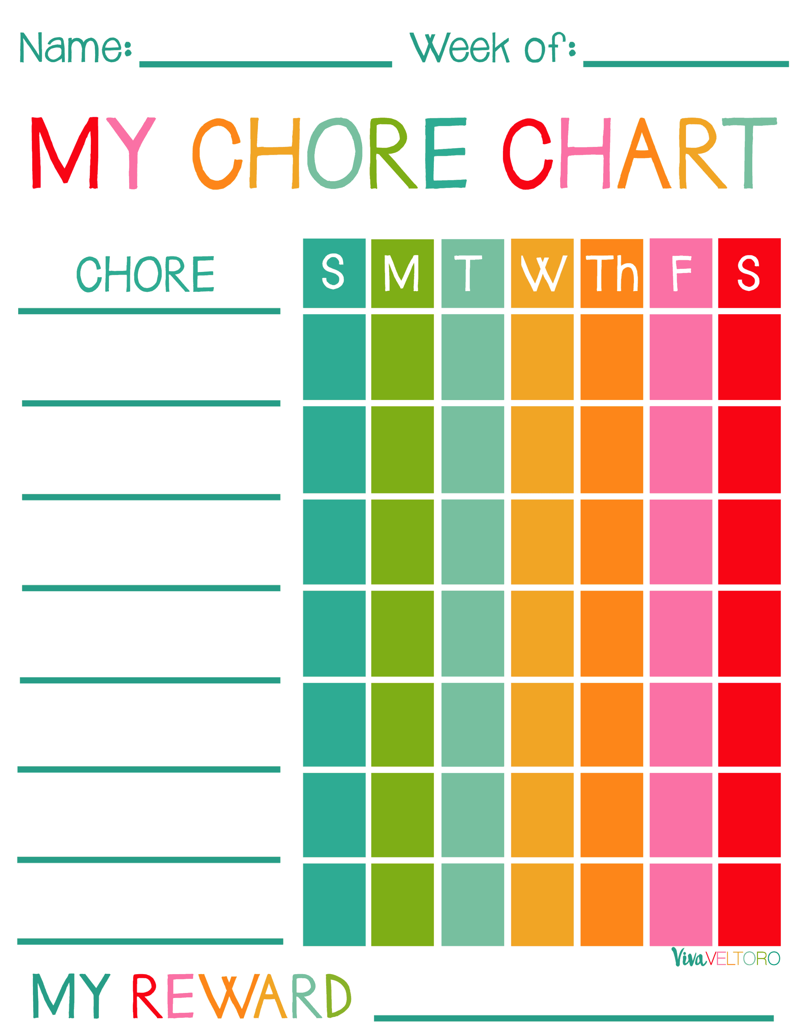 graphic relating to Chore Chart Printable referred to as Cost-free Printable Chore Charts for Youngsters! - Viva Veltoro