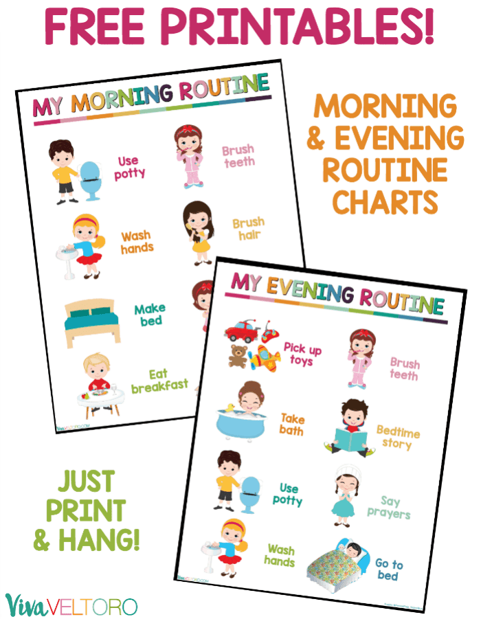 image about Children's Routine Charts Free Printable known as Young children Day-to-day Plan Chart - Cost-free Printable - Viva Veltoro