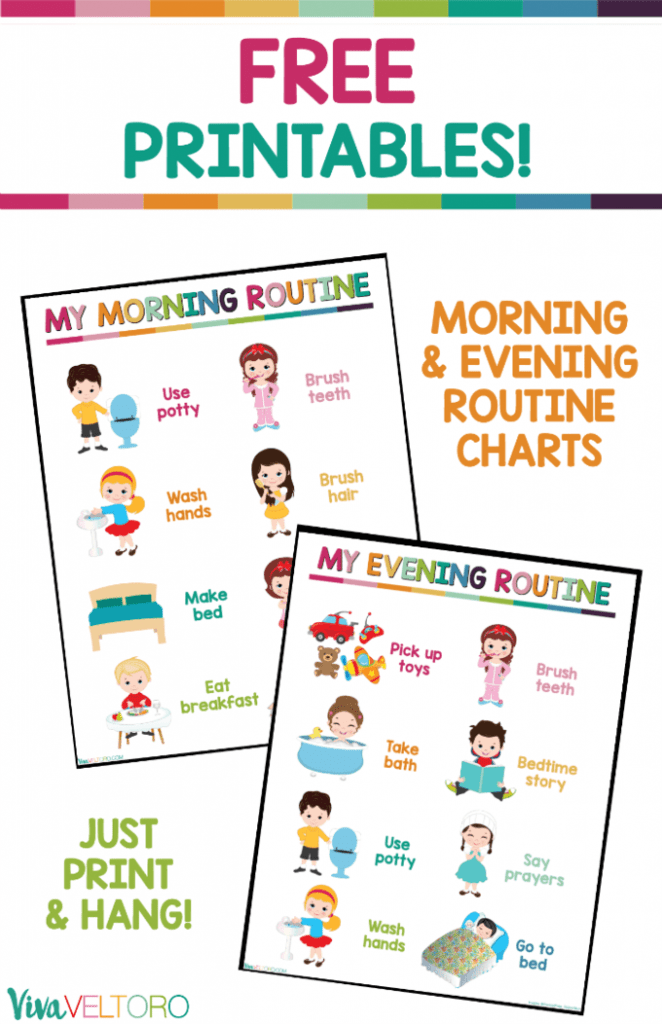 picture relating to Printable Workouts Routines referred to as Youngsters Everyday Agenda Chart - No cost Printable - Viva Veltoro