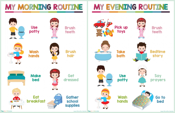 image regarding Morning Routine Printable called Children Each day Timetable Chart - Cost-free Printable - Viva Veltoro