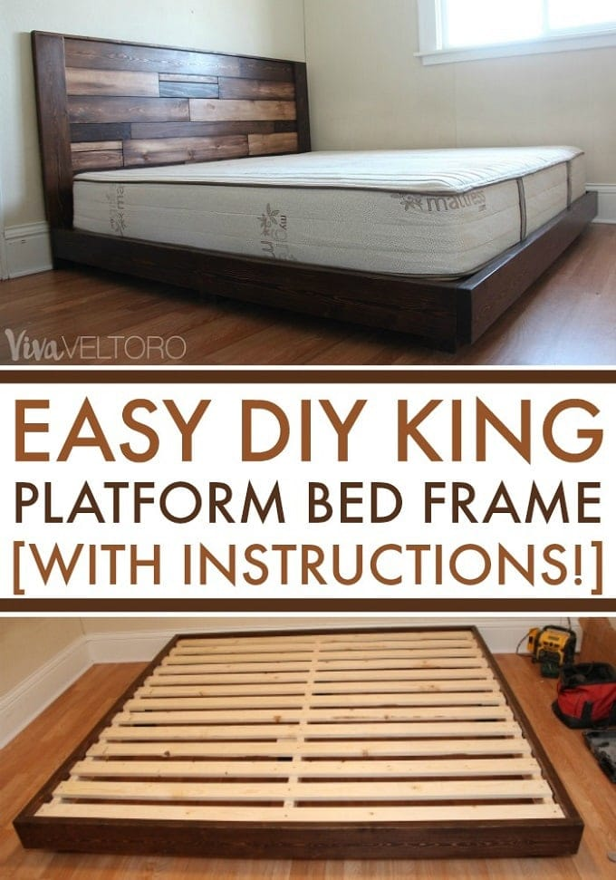 Easy Diy Platform Bed Frame For A King Bed With Instructions