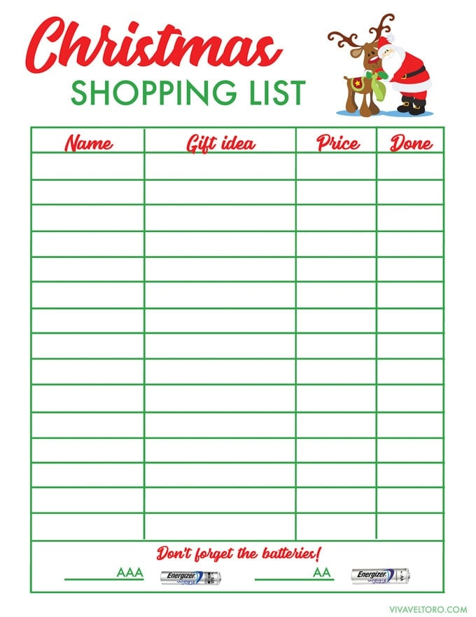 Christmas List Template.Free Christmas Shopping List Template Viva Veltoro
