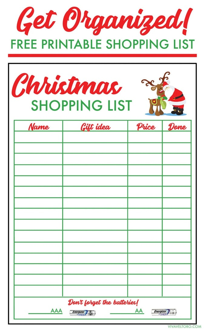 picture about Printable Christmas Shopping List named Free of charge Xmas Browsing Checklist Template - Viva Veltoro