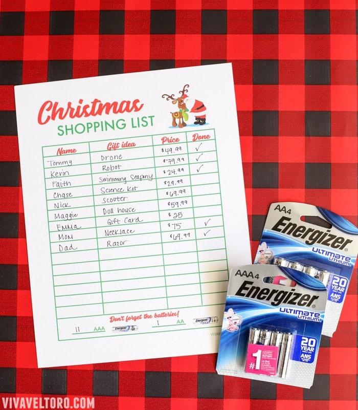 Free Christmas Shopping List Template Viva Veltoro