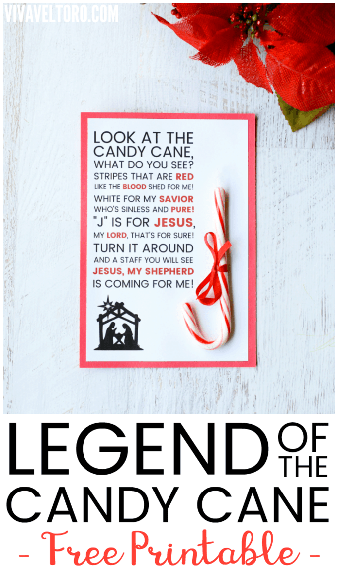 graphic about Printable Candy Cane identified as Legend of the Sweet Cane Printable - Viva Veltoro
