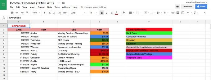 tracking business expenses and income free spreadsheets for small
