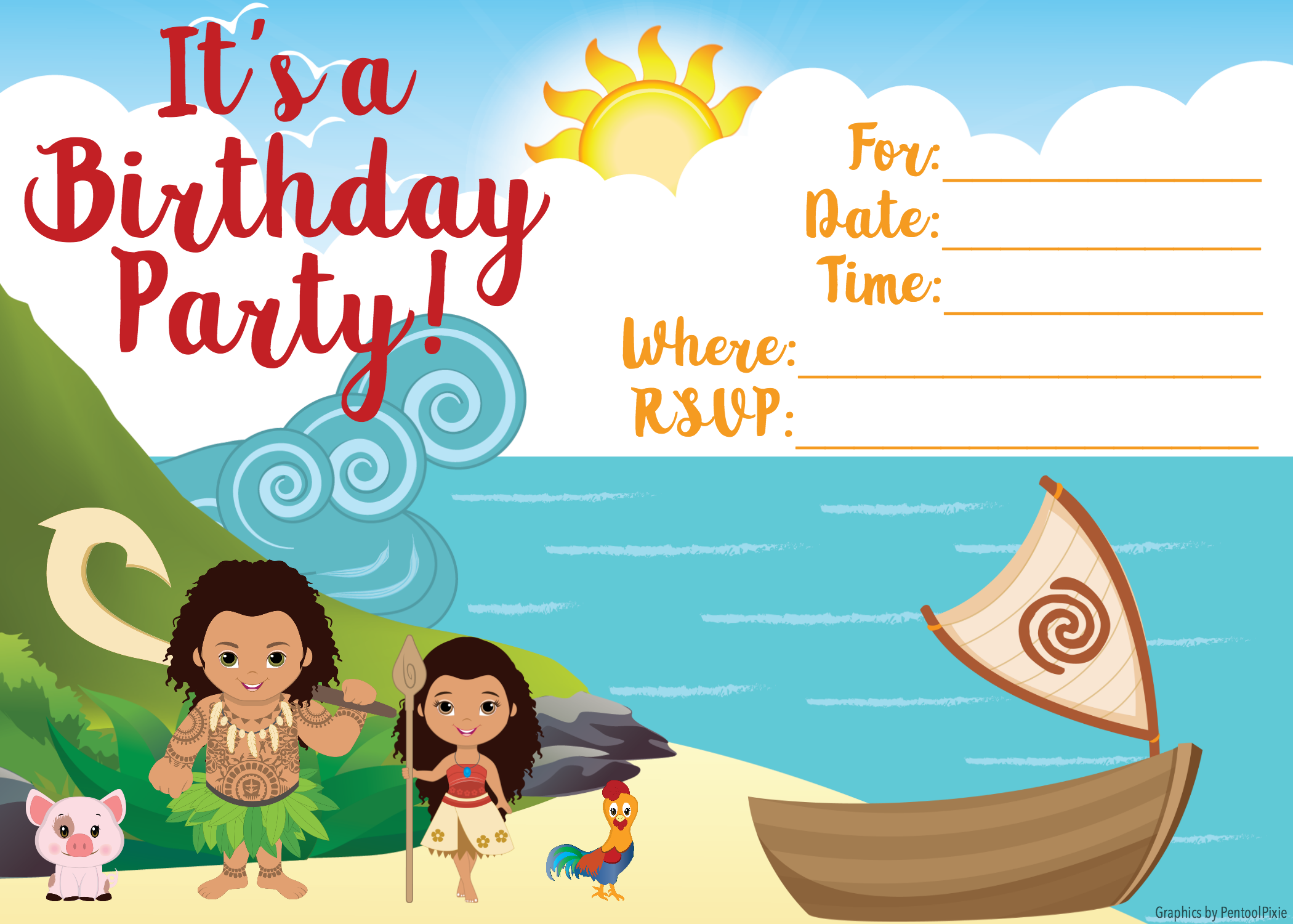 photo about Moana Printable Invitations named Moana Invitation - No cost Printable Moana Birthday Invites